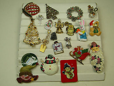 Holiday Costume Jewelry Pin Brooch Lot Christmas Tree Snowman Santa AS IS
