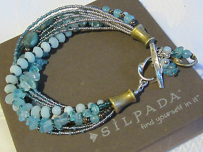SILPADA B2066 Blue Green Quartzite Bead, Sterling Silver & Brass Toggle Bracelet