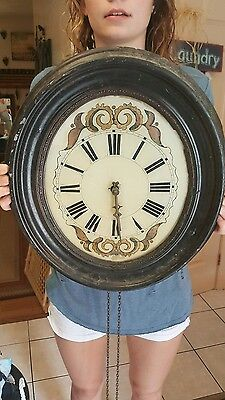19th Century Primitive Wall Clock - Weight Driven MUST SEE photos & description