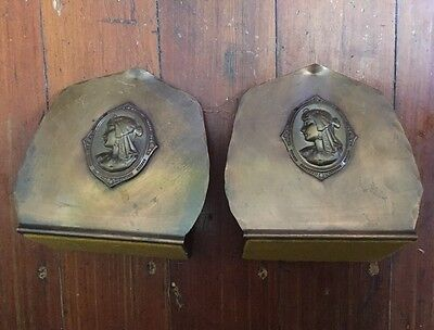 Vintage Bookends Copper Brass Drumgold Arts & Crafts Mission Egyptian Revival