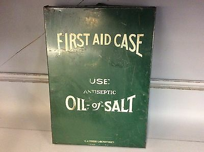 Vintage Metal First Aid Case Antiseptic Oil Of Salt Antique Cabinet Kit Green