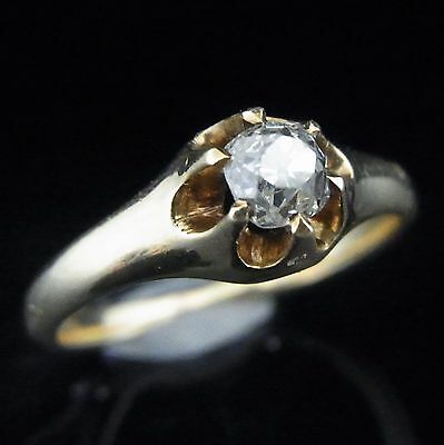 Antique Old Mine Cut Diamond 14k Gold Engagement Promise Ring Vintage Estate