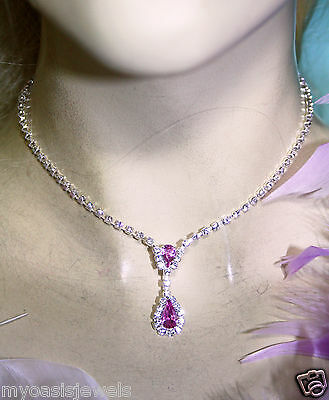 Wholesale Jewerly Lot Pink Rhinestone Necklace Earring 12 Sets Prom Bridal
