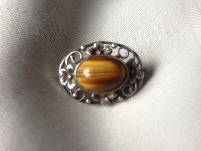 Lovely Vintage SILVER Stamped Tiger Eye Stone Brooch used no box