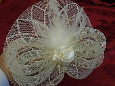 Large Ivory Fascinator Headband Pearls Bow  Flower Wedding Prom Race