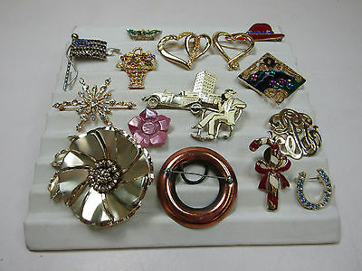 Costume Jewelry Brooch Pin Lot As Is Gold Tone Sparkle Flag Butterfly Red Hat
