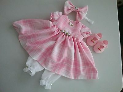 "Pink and cream check 4 piece set for 20""doll handmade"
