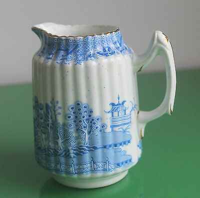 Late Victorian Blue & White Willow Fluted Porcelain Milk Jug c.1890
