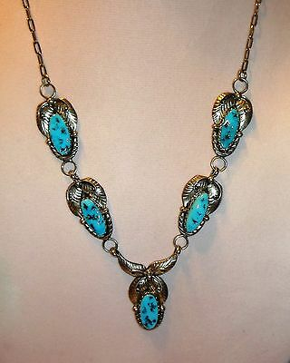 Navajo Sterling Silver & Turquoise Necklace Signed by Artist Les Hill