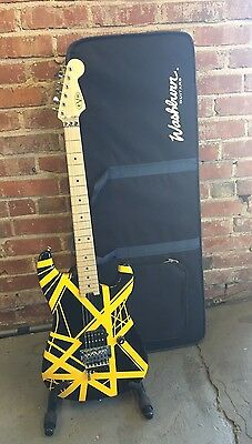 EVH Striped Series Black and Yellow Electric Guitar Wolfgang Standard with Case