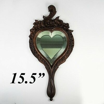 "Antique Hand Carved Black Forest or French 15.5"" Hand Mirror, Heart Shaped"