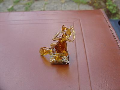Vintage Murano Style Miniature  Hand Blown Glass fox Ornament