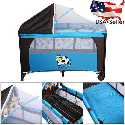 New Blue Baby Crib Playpen Playard Pack Travel Infant Bassinet Bed Foldable Pram