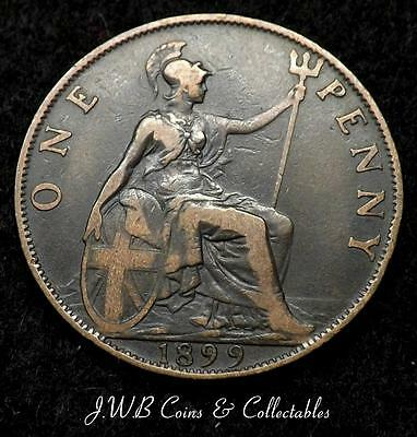 1899 Queen Victoria Veil Head 1d One Penny Coin - Great Britain