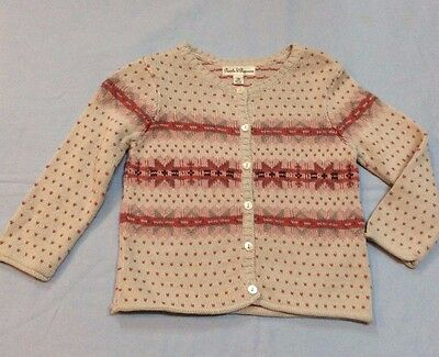 Pearls & Popcorn 100% Cotton Button Up Sweater Ivory Pink Size 18 Mos NWOT