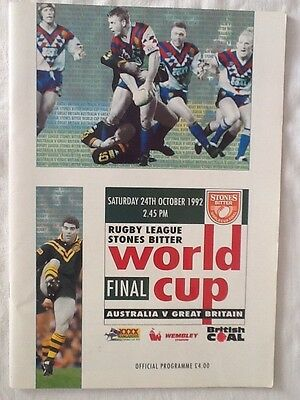 Rugby League World Cup Final 1992 GB v Australia - vg condition