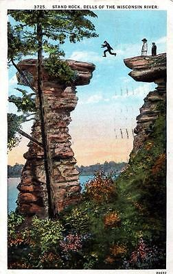 Wisconsin -  Taking a leap of faith at Stand Rock - Wisconsin Dells - in 1928