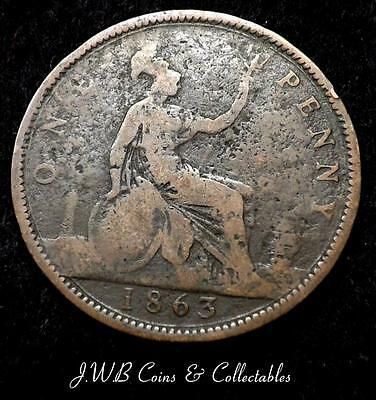 1863 Queen Victoria Young Head 1d One Penny Coin - Great Britain.