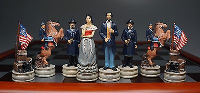 Civil War Chess Set Polyresin Pieces + Board & Box Highly Detailed Good Quality