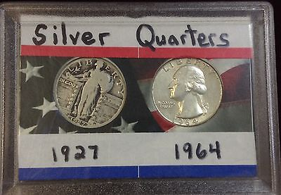 1927 & 1964 Historical  Silver Quarters (Liberty & Washington)