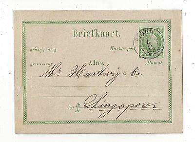 Netherlands Indies 1886 Postal Card Cover to Singapore