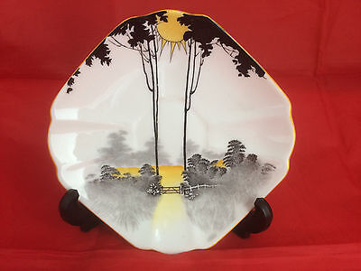 Shelley  Queen Anne Saucer Tall Trees With Sunrise