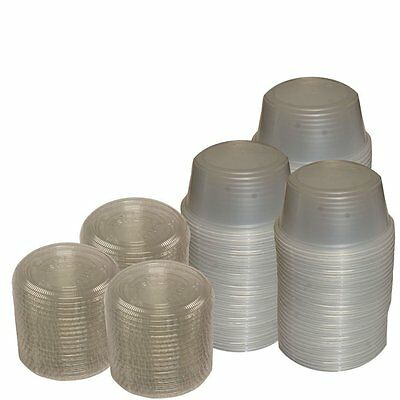 Primebaker Disposable Translucent Plastic Cups with Lids, 100 Count - 3 1/4