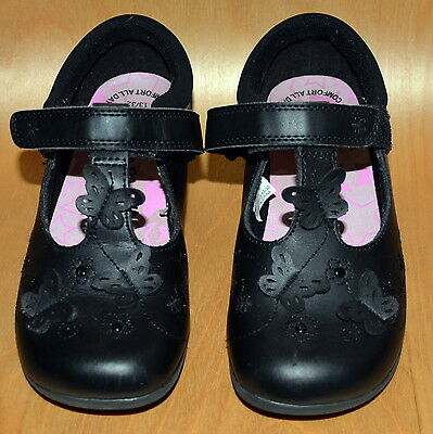 Girls Black School Shoes Boots - Uk-13