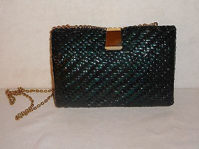 Vintage Koret Black Lacquered Woven Wicker Purse Handbag Shoulder Bag Clutch