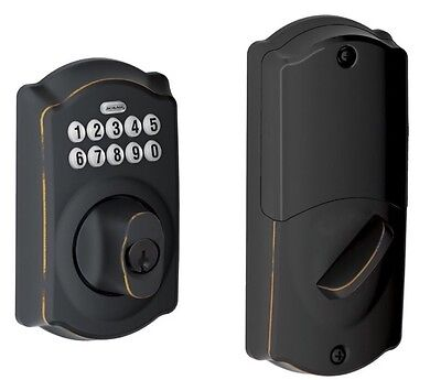 Schlage BE369NX Cam716 Home Keypad Deadbolt with Z-Wave Technology (Aged Bronze)