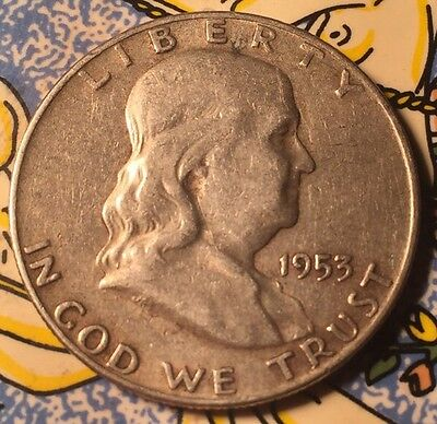 1953 D .900 Silver Ben Franklin Half Dollar Coin United States Of America
