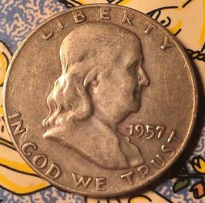 1957 D .900 Silver Ben Franklin Half Dollar Coin United States Of America