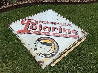 Rare  STANOCOLA 1920's Standard Oil Co. Louisiana  Advertising Porcelain Sign