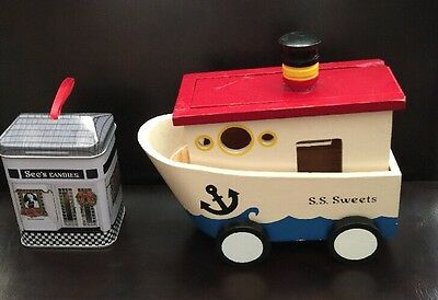 See's Candies Wooden Tug Boat on Wheels Candy Container - S. S. Sweets + Tin (2)