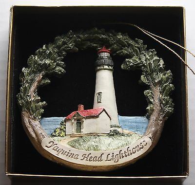 Yaquina Head Lighthouse + Gold Christmas Ornament Lincoln City Oregon 1996