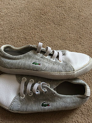 Lacoste childrens white grey size 8 uk infants casual trainers, canvas, 25 eu