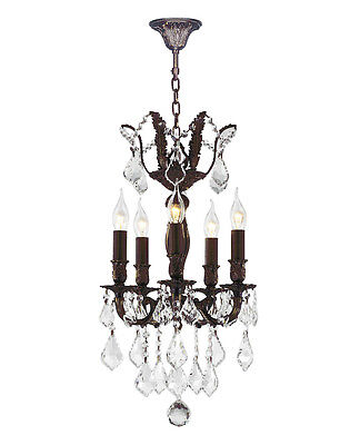 """French Versailles 5 Light Flemish Brass Crystal Chandelier 13"""" x 23"""" Small Mini"""