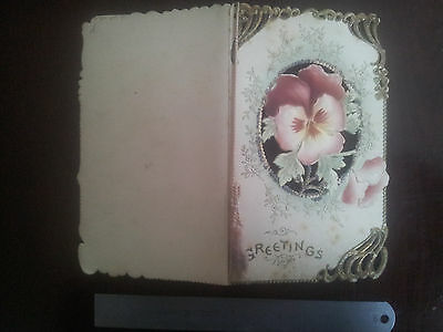 Antique Victorian Greeting Card Birthday Wish Paper  Rare