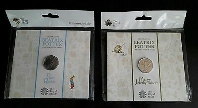 peter rabbit and Mr jeremy fisher brilliant uncirculated 50p coins
