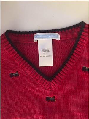 Janie & Jack Embroidered Trains V-Neck Sweater Vest Deep Red 12-18 Months $42.00