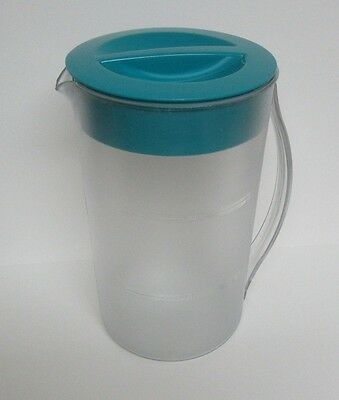 Mr. Coffee 2 Quart Iced Tea Pitcher Frosted w/ Teal/Turq. Lid   Pre-owned