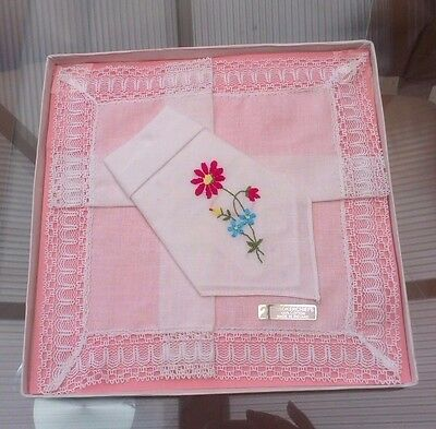2 Boxed Vintage White Cotton & Embroidered Ladies Handkerchiefs With Irish Lace