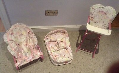 Baby Annabell Accessories Bundle Inc High Chair, Carrycot + Baby Chair