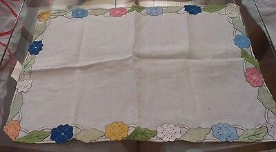 Vintage White Cotton & Embroidered Table Runner/small Tablecloth/tray Cloth