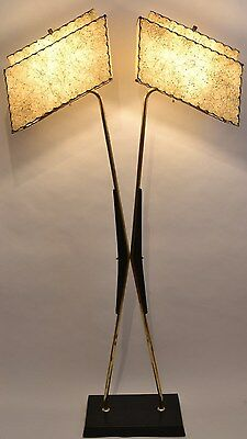 GREAT Mcm Vtg 1950s RETRO Atomic MAJESTIC Floor LAMP Fiberglass SHADES w/Stars