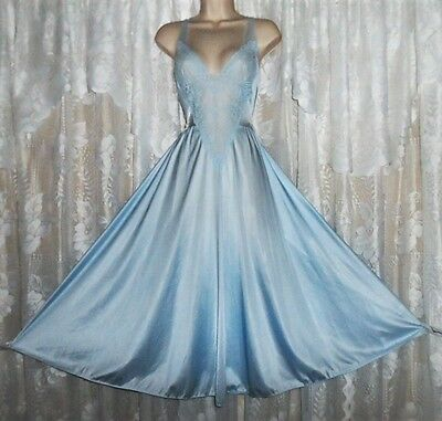 VTG Blue OLGA Bride Lace Front Sheer Back Ballet Nightgown Negligee Gown L 91140