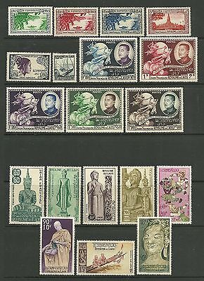Laos 1951-1974 period selection of 83 Hinged Mint stamps in mixed condition