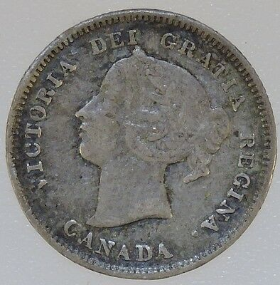 1886 Canadian Silver 5 Cent Piece - B3594