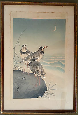 Antique Ohara Koson Shoson Japanese Woodblock Print 1926 Plovers and Waves