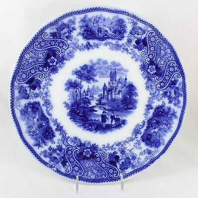 Flow Blue & White Antique Dinner Plate Burgess & Leigh Nonpareil England China